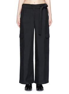 HELMUT LANG Dupioni silk belted cargo pants