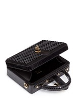 'Dolce Box' strass suede snakeskin leather bag