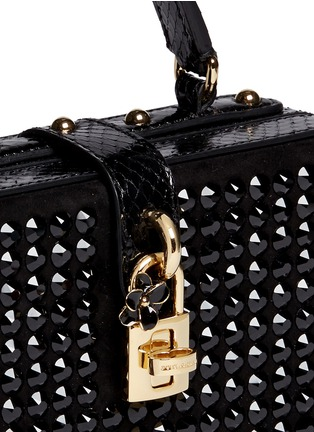 Detail View - Click To Enlarge - Dolce & Gabbana - 'Dolce Box' strass suede snakeskin leather bag