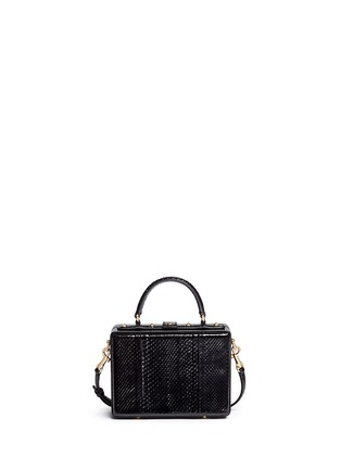 Back View - Click To Enlarge - Dolce & Gabbana - 'Dolce Box' strass suede snakeskin leather bag