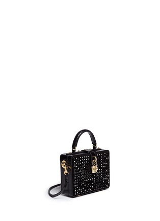 Figure View - Click To Enlarge - Dolce & Gabbana - 'Dolce Box' strass suede snakeskin leather bag