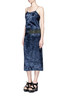 VICTORIA BECKHAMCrushed satin suede belt pleat skirt