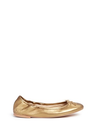 Main View - Click To Enlarge - Sam Edelman - 'Felicia' metallic leather ballet flats