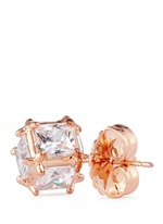 Cubic zirconia cube earrings