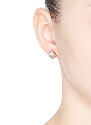 CZ by Kenneth Jay Lane - Cubic zirconia cube earrings