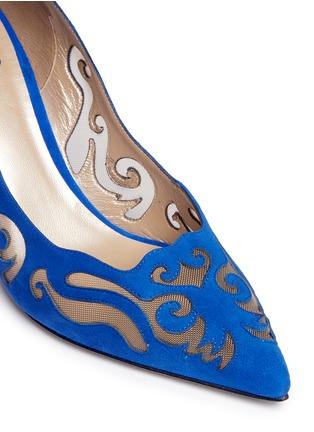 Detail View - Click To Enlarge - René Caovilla - 'Decolette' wavy cutout suede pumps