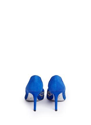 Back View - Click To Enlarge - René Caovilla - 'Decolette' wavy cutout suede pumps