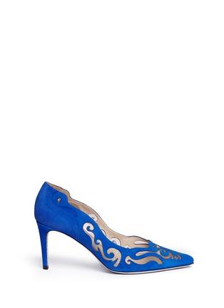Main View - Click To Enlarge - René Caovilla - 'Decolette' wavy cutout suede pumps