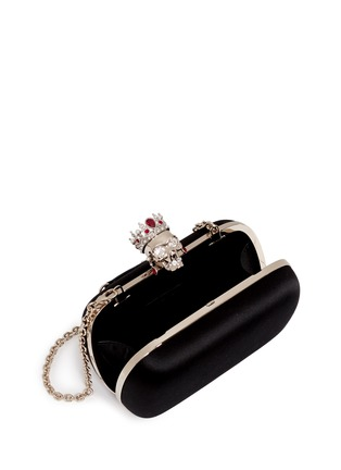Detail View - Click To Enlarge - Alexander McQueen - 'The Queen' skull silk satin box clutch