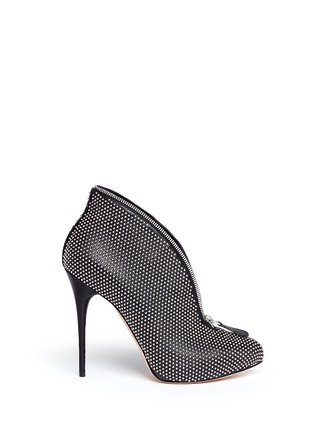 Main View - Click To Enlarge - Alexander McQueen - Zip throat stud leather booties