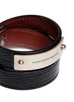 Logo metal plate lizard embossed leather bracelet