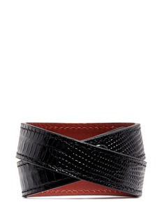 ALEXANDER MCQUEEN Logo metal plate lizard embossed leather bracelet