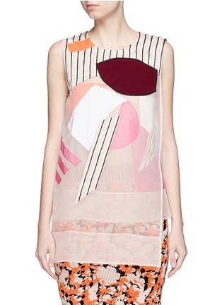 Main View - Click To Enlarge - Acne Studios - 'Gladis' Cubist effect patchwork organza tabard top