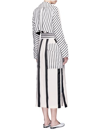 Back View - Click To Enlarge - Acne Studios - 'Verna' variegated stripe linen blend trench coat