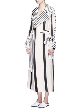 Figure View - Click To Enlarge - Acne Studios - 'Verna' variegated stripe linen blend trench coat