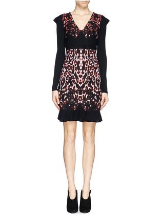 Main View - Click To Enlarge - McQ Alexander McQueen - Pixel leopard wool knit dress