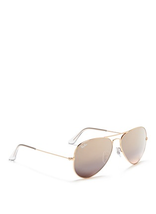模特儿示范图 - 点击放大 - RAY-BAN - 'Aviator Classic' metal mirror sunglasses