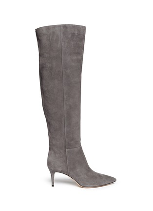 Main View - Click To Enlarge - Gianvito Rossi - Knee high suede stiletto boots