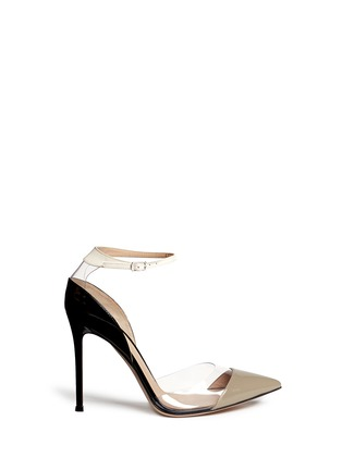 Main View - Click To Enlarge - Gianvito Rossi - 'Natalie' clear PVC trim patent leather pumps