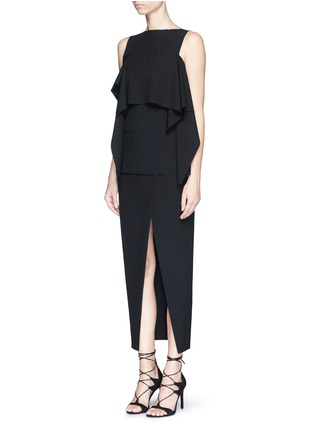Figure View - Click To Enlarge - Ms MIN - Asymmetric mock wrap front crepe skirt