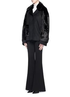 MS MINFaux fur panel wool-cashmere coat