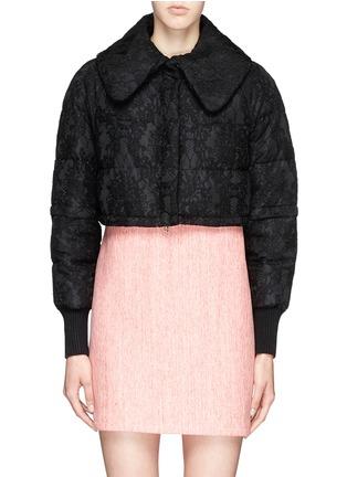- Moncler - 'Bettina' detachable hem lace overlay down jacket