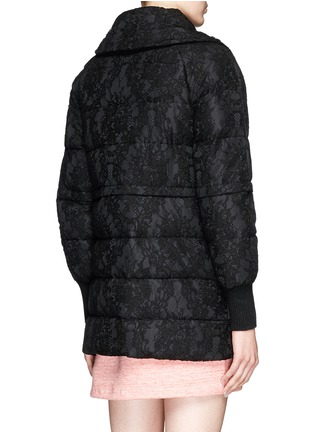 Back View - Click To Enlarge - Moncler - 'Bettina' detachable hem lace overlay down jacket