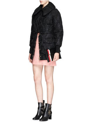 Figure View - Click To Enlarge - Moncler - 'Bettina' detachable hem lace overlay down jacket
