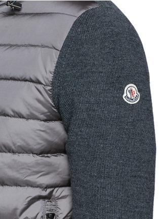细节 - 点击放大 - MONCLER - 尼龙拼接混羊毛连帽羽绒外套