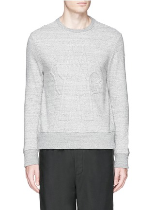 Main View - Click To Enlarge - Moncler - Embossed logo cotton-wool sweatshirt