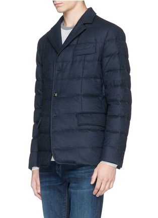 Front View - Click To Enlarge - Moncler - 'Rodin' chevron wool blend down jacket