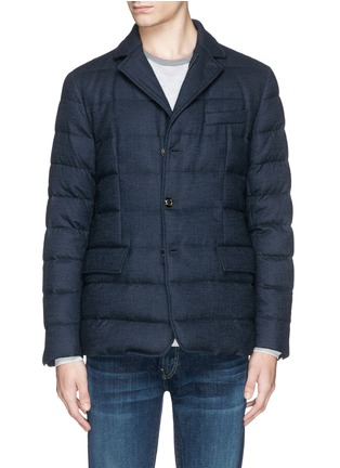 Main View - Click To Enlarge - Moncler - 'Rodin' chevron wool blend down jacket