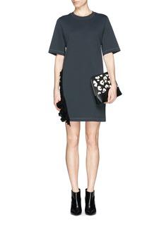 3.1 PHILLIP LIMCrochet ruffle trim cotton jersey T-shirt dress