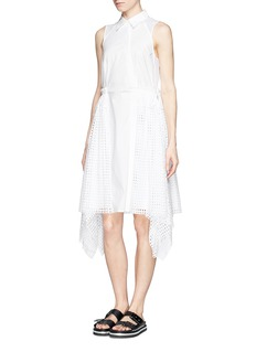 3.1 PHILLIP LIM Asymmetric lace godet cotton dress