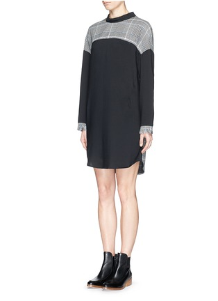 Front View - Click To Enlarge - 3.1 Phillip Lim - Glen plaid panel mock neck twill dress