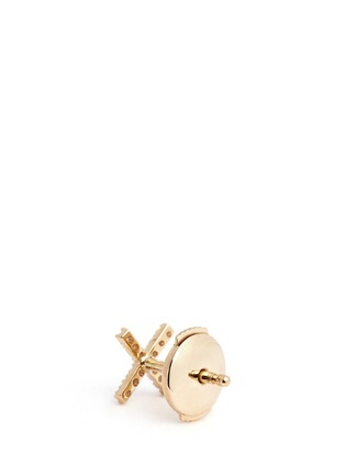 Back View - Click To Enlarge - Loquet London - Diamond 14k yellow gold cross single earring - Give a Kiss