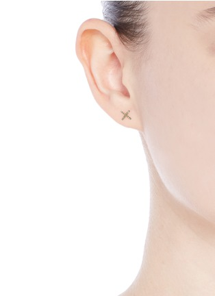 Figure View - Click To Enlarge - Loquet London - Diamond 14k yellow gold cross single earring - Give a Kiss