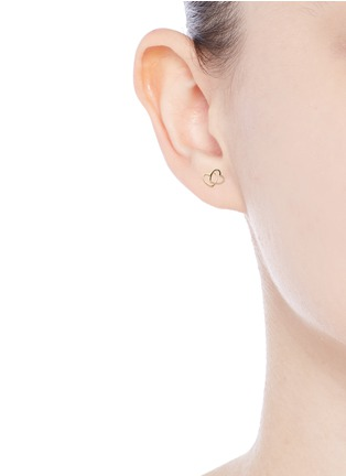 Loquet London - 14k yellow gold linked hearts single earring - Always Together