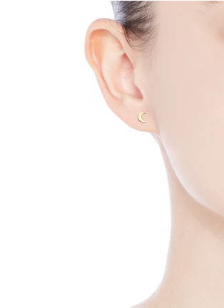 Loquet London - 14k yellow gold moon single earring - Intuition