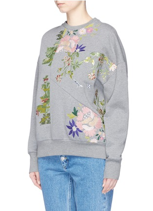 Front View - Click To Enlarge - Alexander McQueen - Floral embroidered patchwork sweatshirt