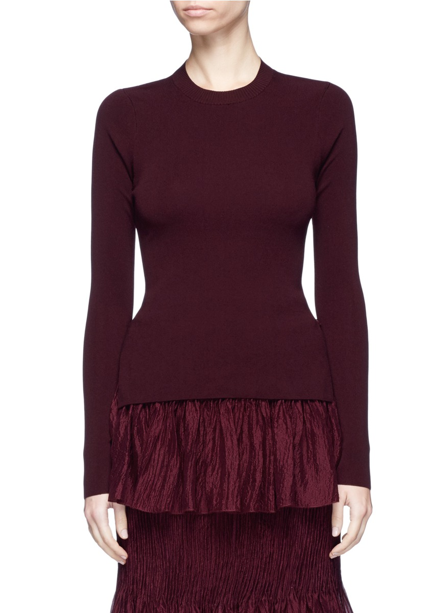 Contrast panel open back sweater by Ms MIN