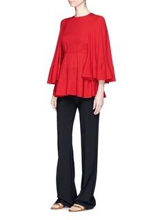 ValentinoBell sleeve gathered bib front blouse