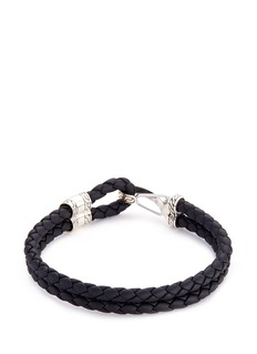 John Hardy Silver braided leather hook bracelet
