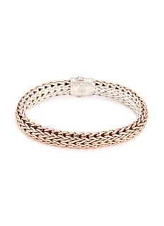John Hardy Silver bronze reversible woven chain bracelet