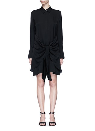 Main View - Click To Enlarge - Theory - 'Talbilla' tie front silk shirt dress