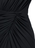 Keyhole drape front jersey crepe gown