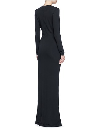 Back View - Click To Enlarge - Givenchy Beauty - Keyhole drape front jersey crepe gown