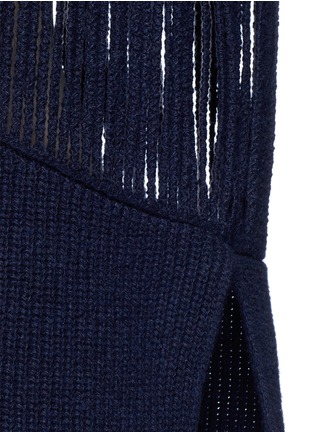 Detail View - Click To Enlarge - Stella McCartney - Fringed cutout panel cashmere-wool sweater