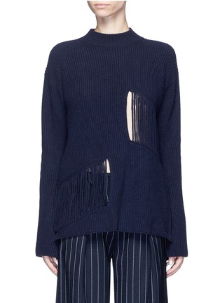 Main View - Click To Enlarge - Stella McCartney - Fringed cutout panel cashmere-wool sweater