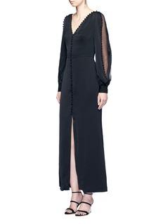 Alexander McQueenChiffon sleeve crepe flare dress